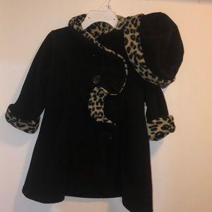 Black Infant winter coat & hat with leopard print